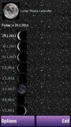 Lunar Phase Calender Symbian Mobile Phone Application