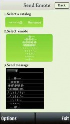 Send Emote Widget  Symbian Mobile Phone Application