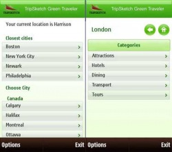 TripSketch Green Traveler Widget Symbian Mobile Phone Application