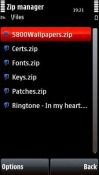 Zip Manager Touch Application for Symbian Mobile Phone