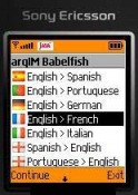 argIM Babelfish Translator  Java Mobile Phone Application