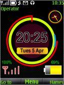 Neon Clock Battery S40 Mobile Phone Theme