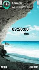 Tropical Beach Clock Symbian Mobile Phone Theme