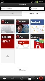 Opera Mini browser for Android Android Application Image 1