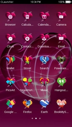 Pink Heart CLauncher Android Theme Image 1