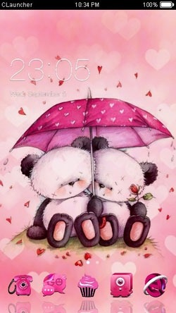 Pink Love CLauncher Android Theme Image 1