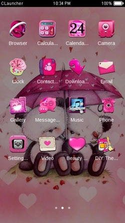 Pink Love CLauncher Android Theme Image 2