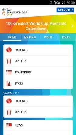 ICC Cricket World Cup 2015 Android Application Image 1