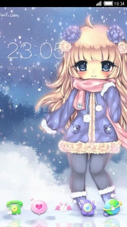 Kawaii Winter CLauncher Android Theme Image 1
