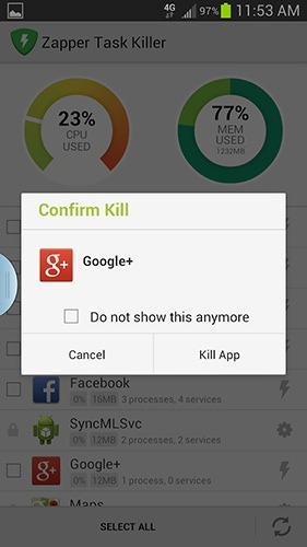 Zapper Task Killer Android Application Image 2