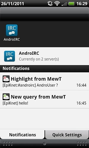 AndroIRC Android Application Image 2