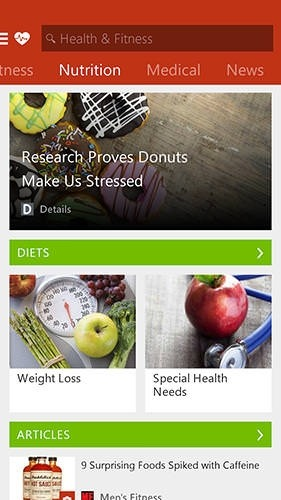 Msn Health And Fitness Android Application Image 1
