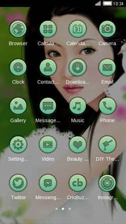 Girl In Green CLauncher Android Theme Image 2