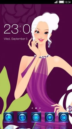 Girl In Purple CLauncher Android Theme Image 1