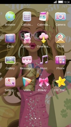 Girl Pink CLauncher Android Theme Image 2