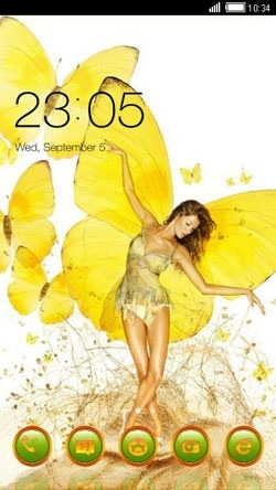 Girl Yellow CLauncher Android Theme Image 1