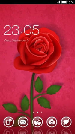 Red Rose CLauncher Android Theme Image 1