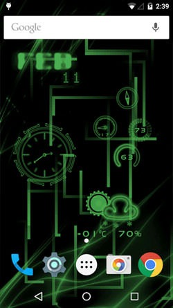 Neon Clock Android Wallpaper Image 1