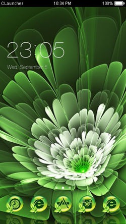 Green Flower CLauncher Android Theme Image 1