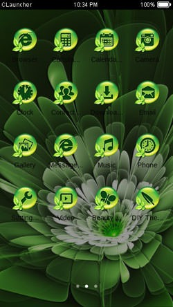 Green Flower CLauncher Android Theme Image 2