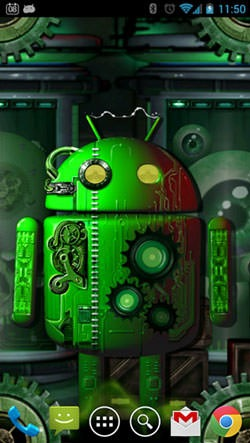 Steampunk Droid: Fear Lab Android Wallpaper Image 2