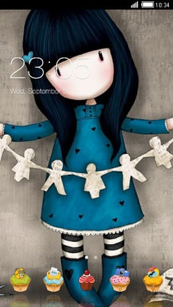 Blue Paper Doll CLauncher Android Theme Image 1