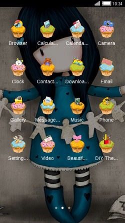 Blue Paper Doll CLauncher Android Theme Image 2