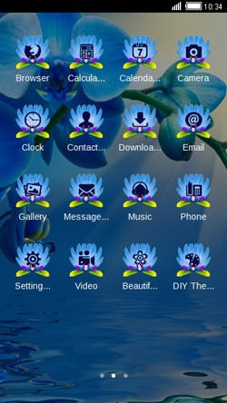 Blue Flowers CLauncher Android Mobile Phone Theme Image 2