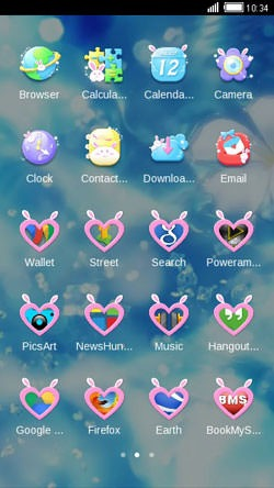 Blue Love CLauncher Android Mobile Phone Theme Image 2
