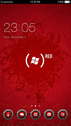Windows Red CLauncher Android Mobile Phone Theme Image 1