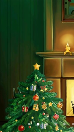 Christmas Fireplace Android Wallpaper Image 1