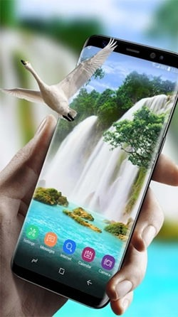Waterfall And Swan Android Wallpaper Image 1