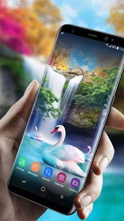 Waterfall And Swan Android Wallpaper Image 2