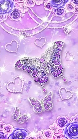 Purple Diamond Butterfly Android Wallpaper Image 1