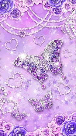 Purple Diamond Butterfly Android Wallpaper Image 2