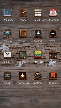 Wood Texture CLauncher Android Theme Image 2