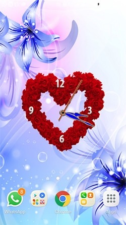 Rose Clock Android Wallpaper Image 1