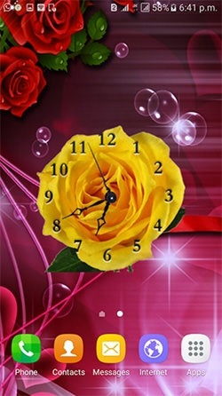 Rose Clock Android Wallpaper Image 2