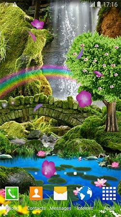 Romantic Waterfall 3D Android Wallpaper Image 1