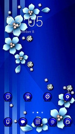 Blue Flowers CLauncher Android Theme Image 1