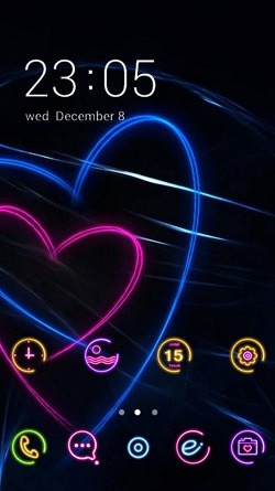 Neon Hearts CLauncher Android Theme Image 1