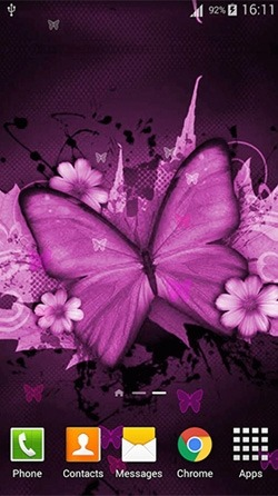Pink Butterfly Android Wallpaper Image 1