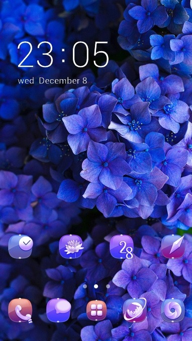 Download Free Android Theme Blue Flowers CLauncher - 4376