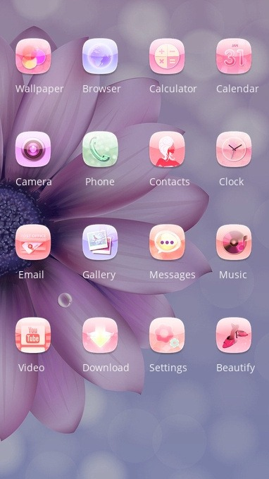 Purple Flower CLauncher Android Theme Image 2