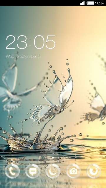 Download Free Android Theme Water Butterfly CLauncher