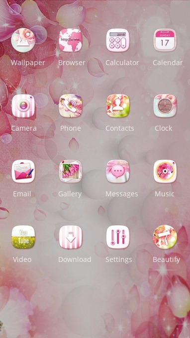 Pink Flowers CLauncher Android Theme Image 2