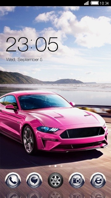 Pink Car CLauncher Android Theme Image 1