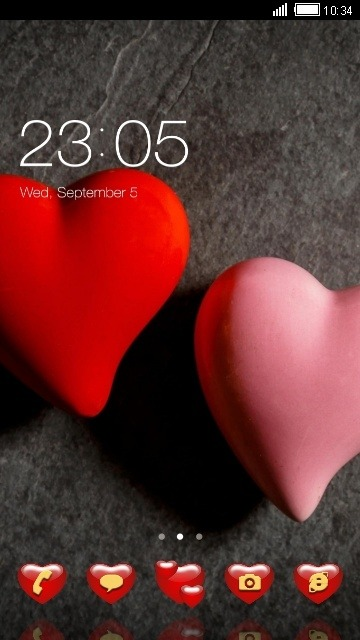 Red Heart CLauncher Android Theme Image 1