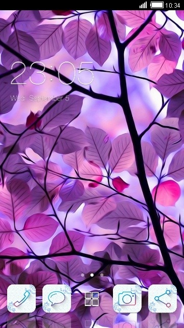 Purple Leaves CLauncher Android Theme Image 1
