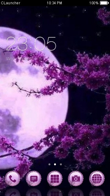 Purple Moon CLauncher Android Theme Image 1